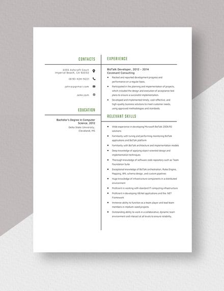 Biztalk Developer Resume Template