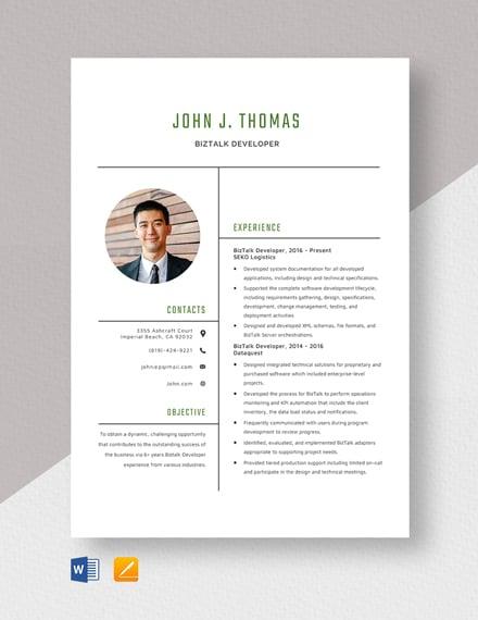 Biztalk Developer Resume