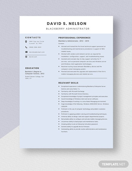 Blackberry Administrator Resume Template