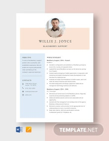 Blackberry Support Resume Template