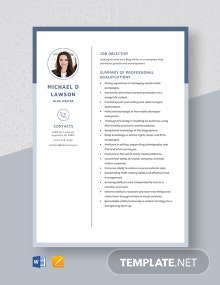 Blog Writer Resume Template