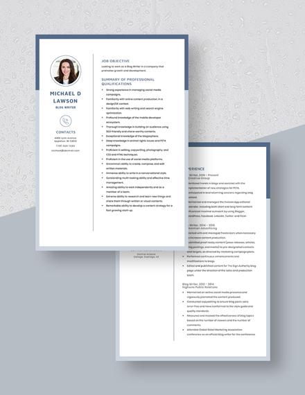 Blog Writer Resume Download