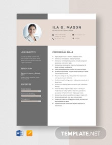 Blood Bank Technician Resume Template