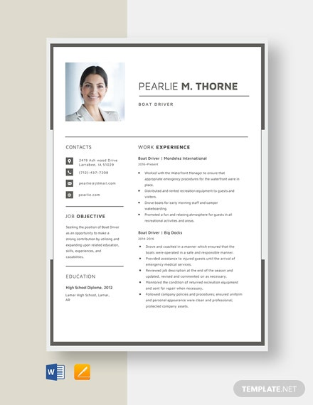 Boat Driver Resume Template Word Doc Apple Mac Pages