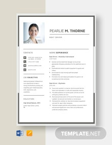 Boat Driver Resume Template