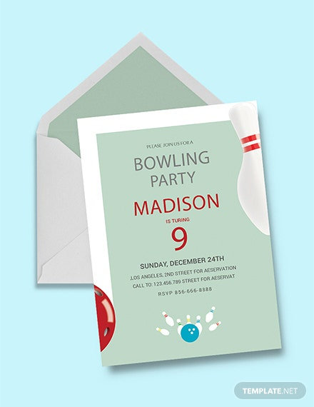 Free Bowling Birthday Party Invitation Template Download 344