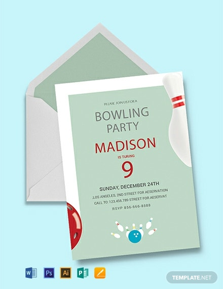 Free Bowling Birthday Party Invitation Template