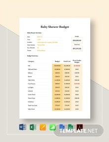 Baby Shower Budget Template