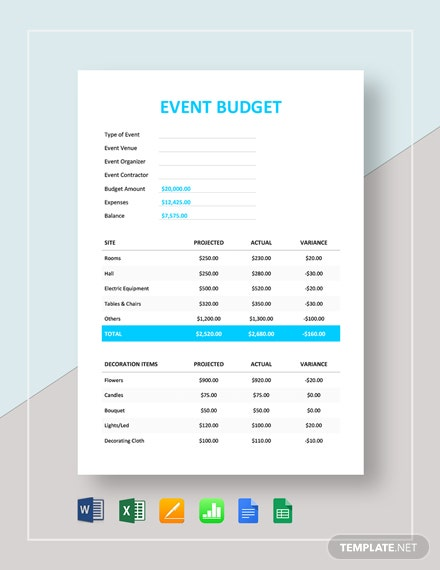Event Budget Template