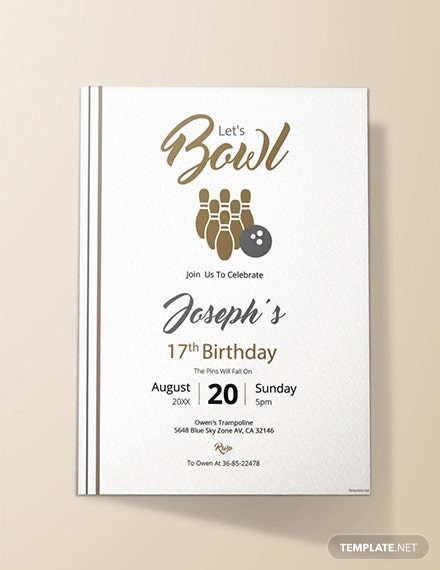 Free Bowling Invitation Template