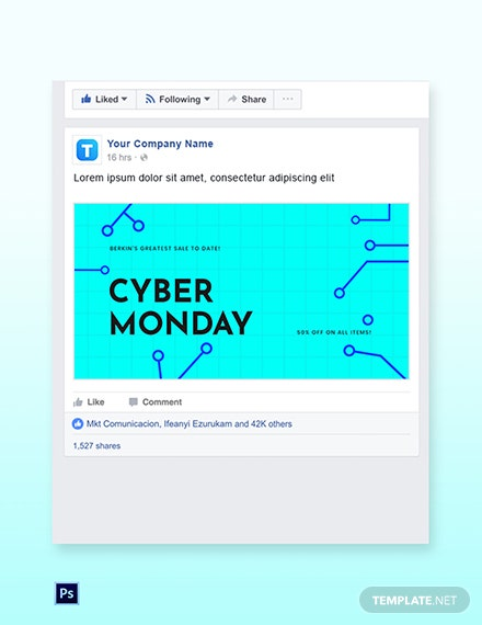 Free Editable Cyber Monday Sale Facebook Post Template