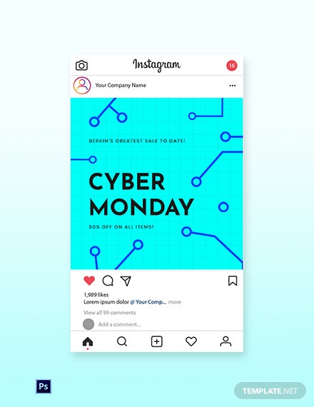 Free Editable Cyber Monday Sale Instagram Post Template