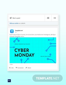 Free Editable Cyber Monday Sale LinkedIn Blog Post Template