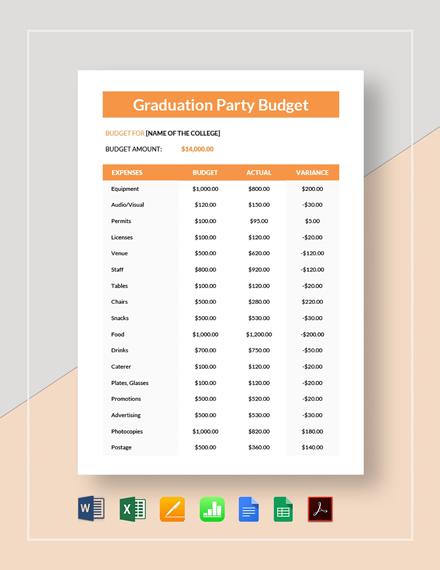 Graduation Party Budget Template