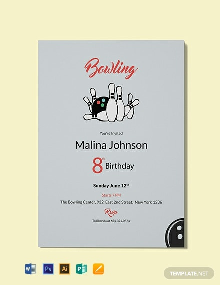 Free Bowling Invitation Party Template Word Psd