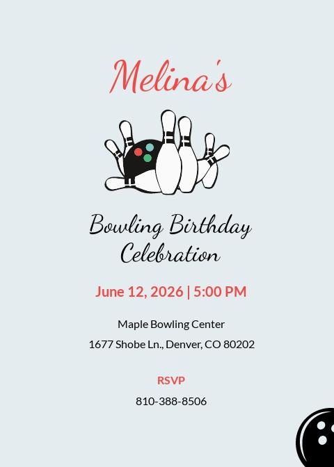 Printable Bowling Invitation Template
