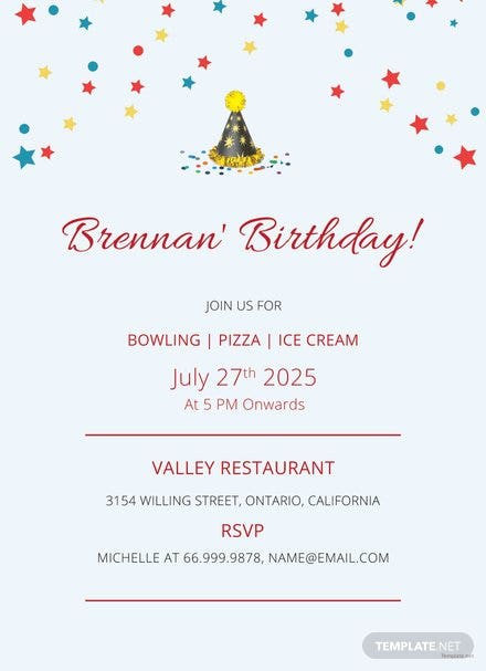 Free Bowling Birthday Invitation Template