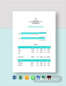Monthly Sales Budget Template