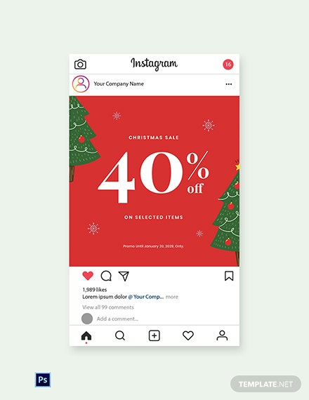 Free Christmas Holiday Sale Instagram Post Template