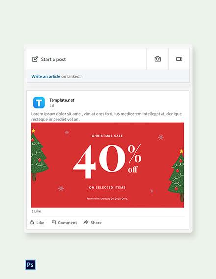 Free Christmas Holiday Sale Linkedin Blog Post Template