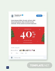 Free Christmas Holiday Sale Twitter Post Template