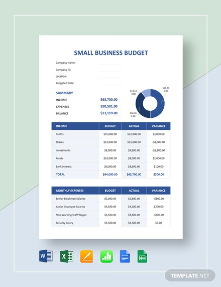 small business budget template word excel google. Black Bedroom Furniture Sets. Home Design Ideas