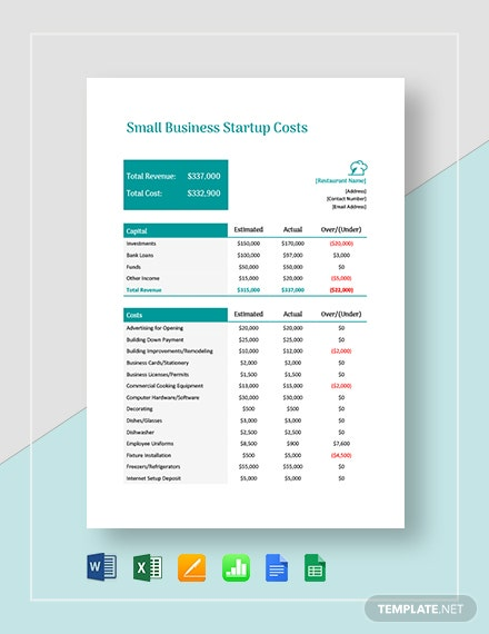 Small Business Start Up Costs Template