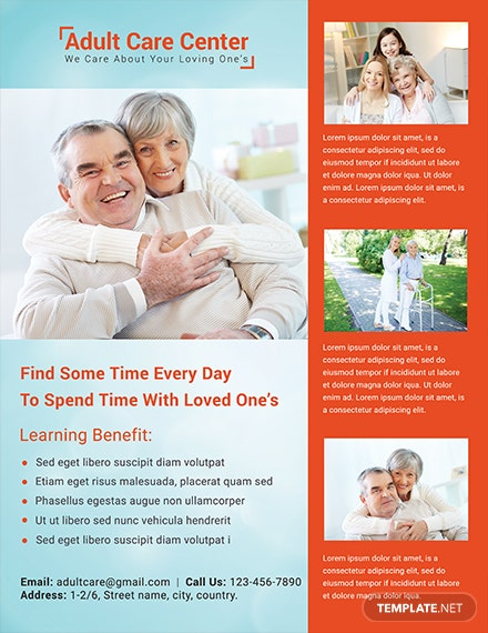 Free Adult Care Center Flyer Template