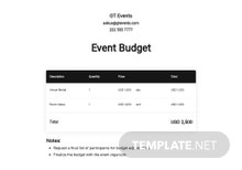 Small Conference Budget Template