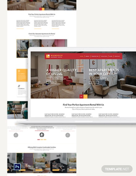 Apartmental Rental PSD Landing page Template