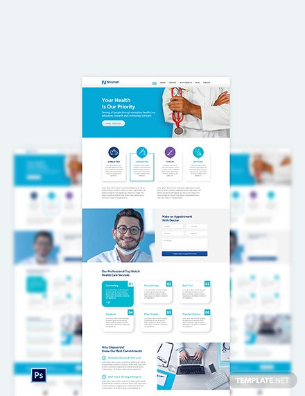 Clinic PSD Landing page Template