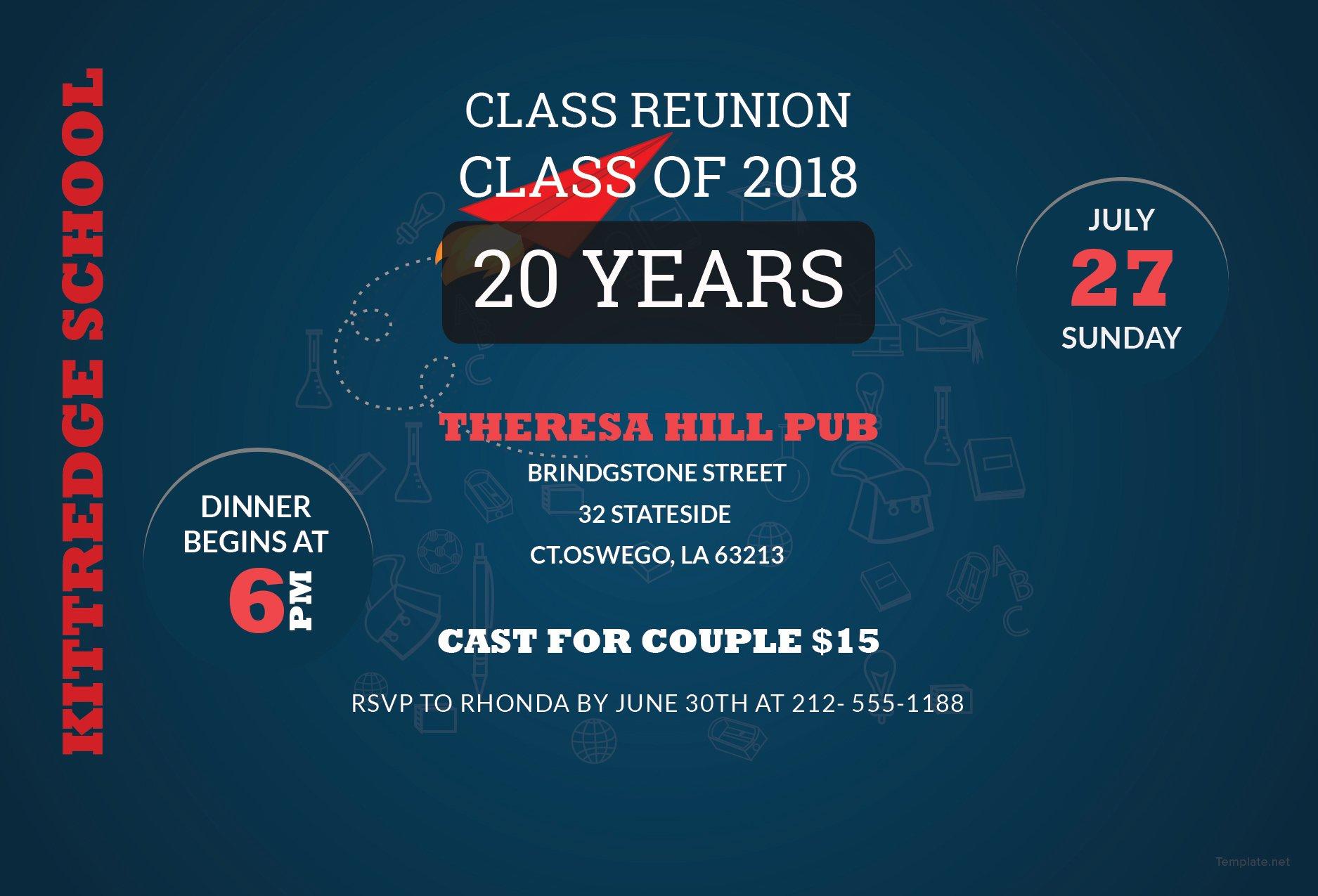 free class reunion invitation template in adobe photoshop