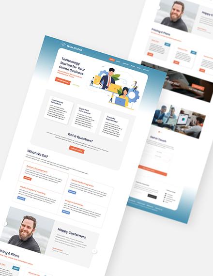 Sample Tech Startup PSD Landing page