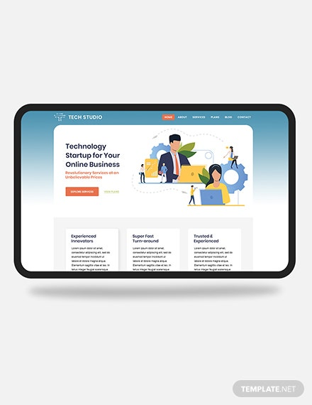 Tech Startup PSD Landing page Download