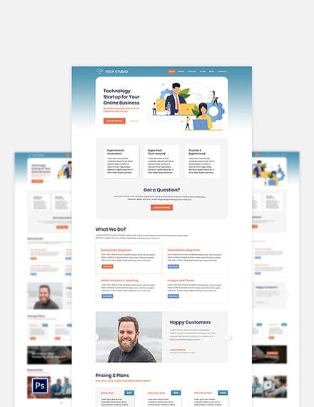 Tech Startup PSD Landing page Template