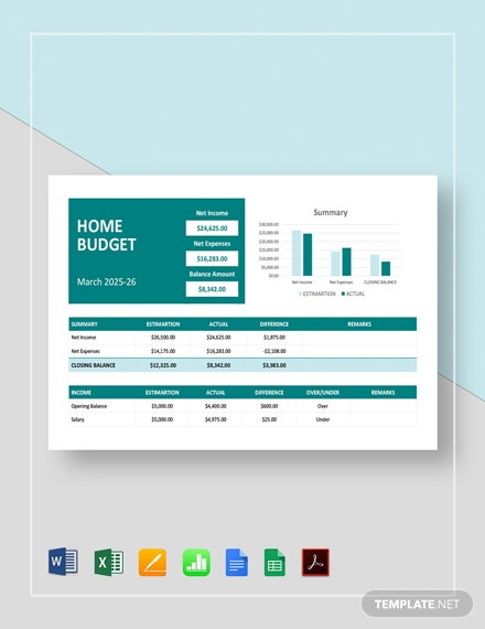 Home Construction Budget Template - PDF | Word (DOC ...