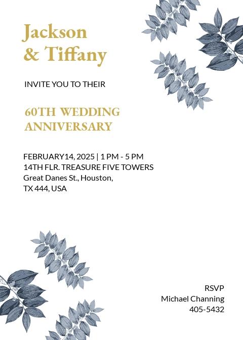 60th Fall wedding Anniversary Invitation Template