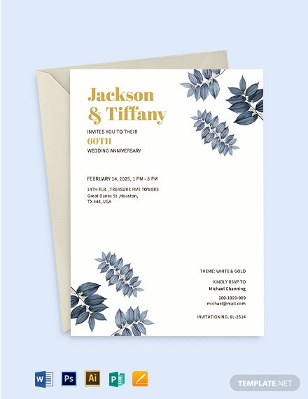 60th Fall wedding Anniversary Invitation Template