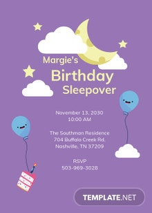 Birthday Sleepover Invitation Template