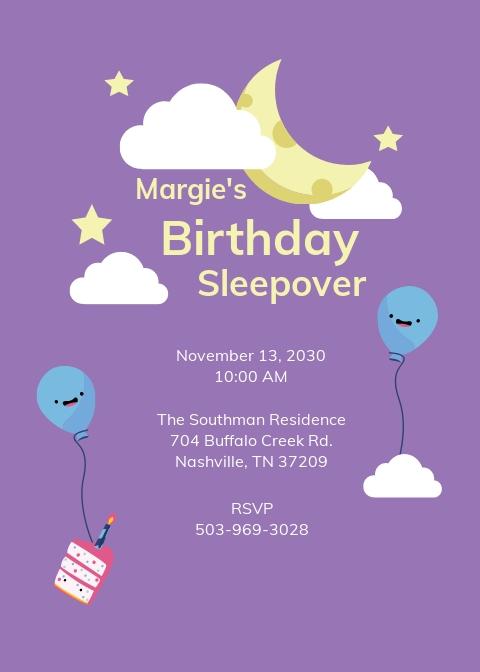 Birthday Sleepover Invitation Template