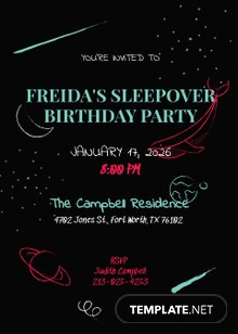 Chalkboard Sleepover Invitation Template