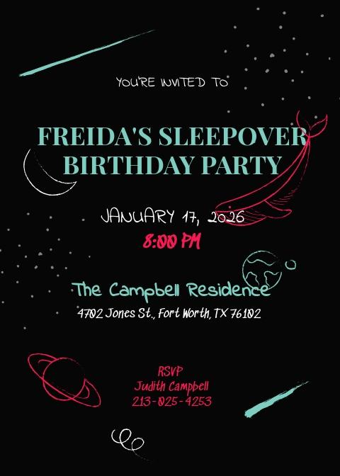 Chalkboard Sleepover Invitation Template