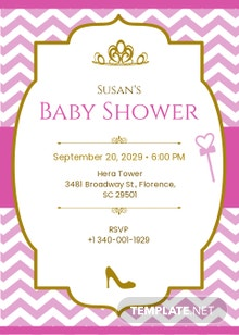 Chevron Princess Baby Shower Invitation Template