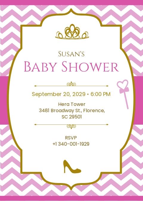 Chevron Princess Baby Shower Invitation Template