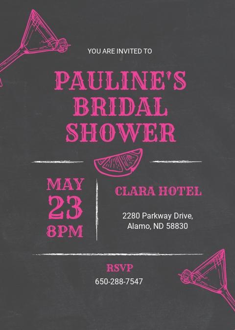 Chalkboard Bridal Shower Invitation Template