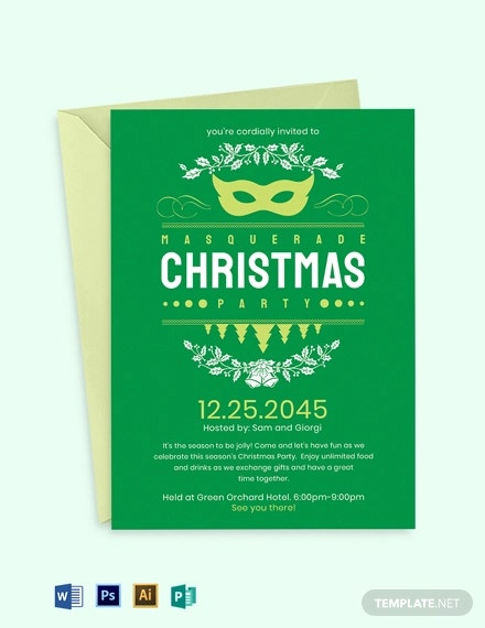 christmas masquerade invitation 1