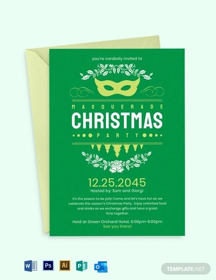 Christmas Masquerade Invitation Template