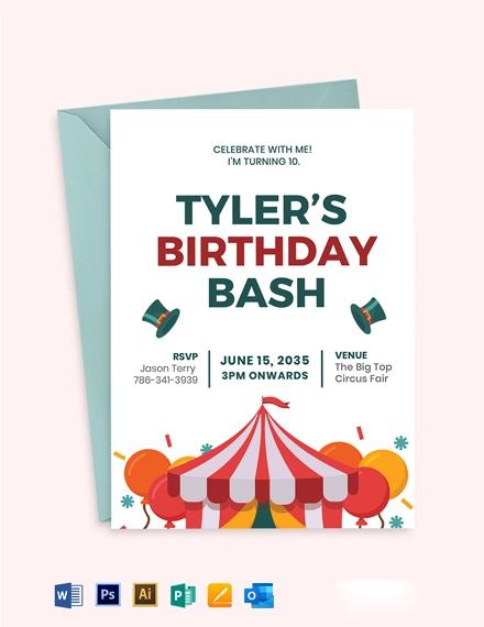 Circus Birthday Invitation Template