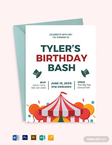 Circus Birthday Invitation Template