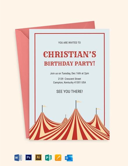 Circus Box Birthday Invitation Template